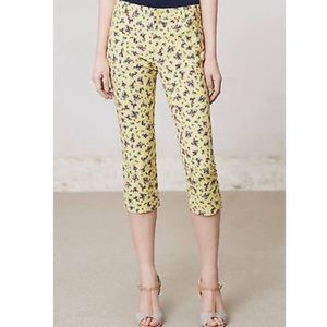 Anthropologie Cartonnier Yellow Floral Capris